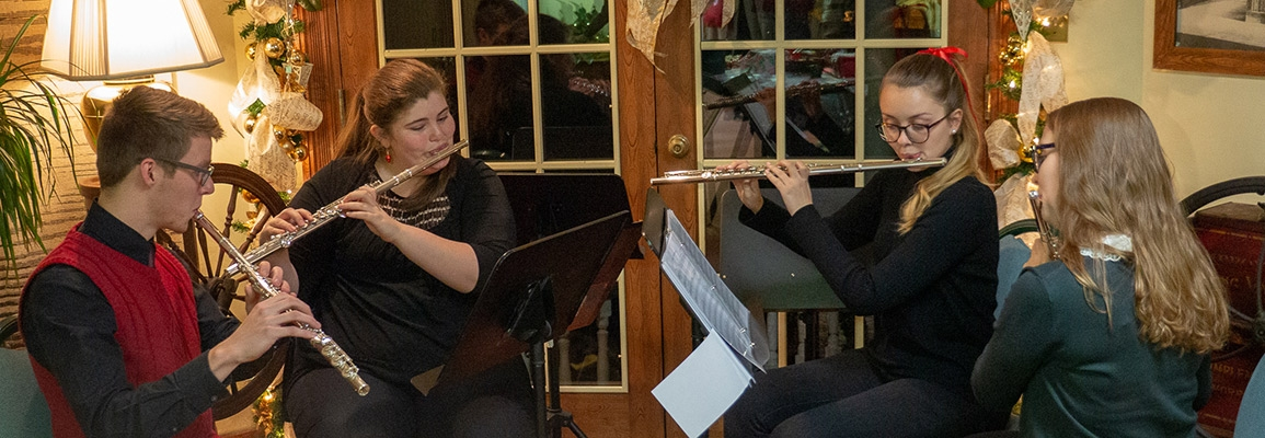 flute quartet of Appalachian State students at the Center's Holiday Celebration